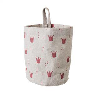 oppbevaringspose med rosa kroner fra Bloomingville Mini