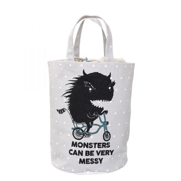 Grå oppbevaringspose Monster fra Bloomingville Mini