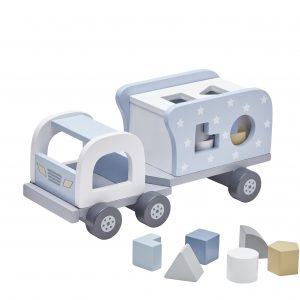 Lekelastebil med klosser - Blå fra KidsConcept