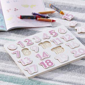 Tallpuslespill i tre - Rosa fra Kids Concept